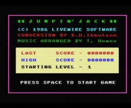Jumping Jack (1986, MSX, Livewire)