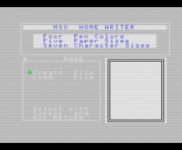 Home Writer (1984, MSX, Sony)