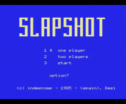 Slapshot (1985, MSX, Indescomp)