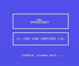 Spreadsheet (1985, MSX, Kuma Computers)