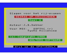 Slagen voor het rij-examen (1986, MSX, Wolters Software)